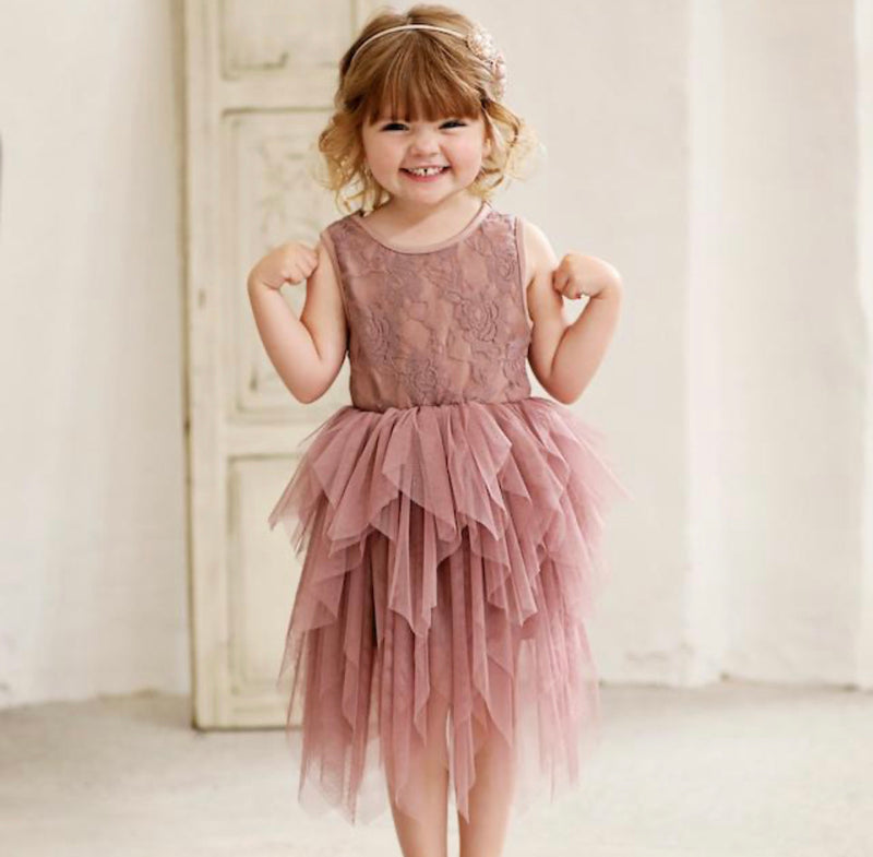 SOPHIE LACE BODICE TUTU DRESS - TRUFFLE