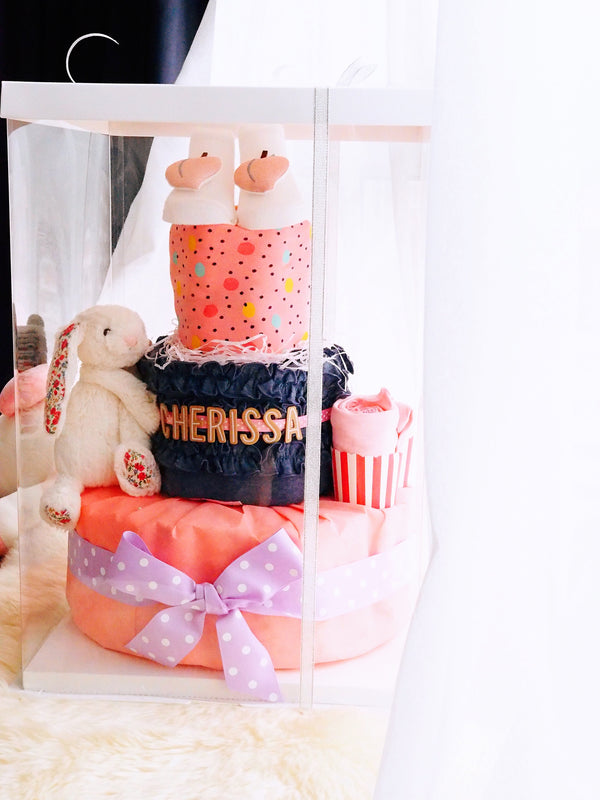 3 Tier Diaper Cake Girl - Denim Bunny