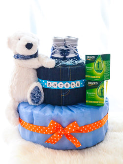 2 Tier Diaper Cake Boy - Essence of Love w/Kris Junior Polar Bear
