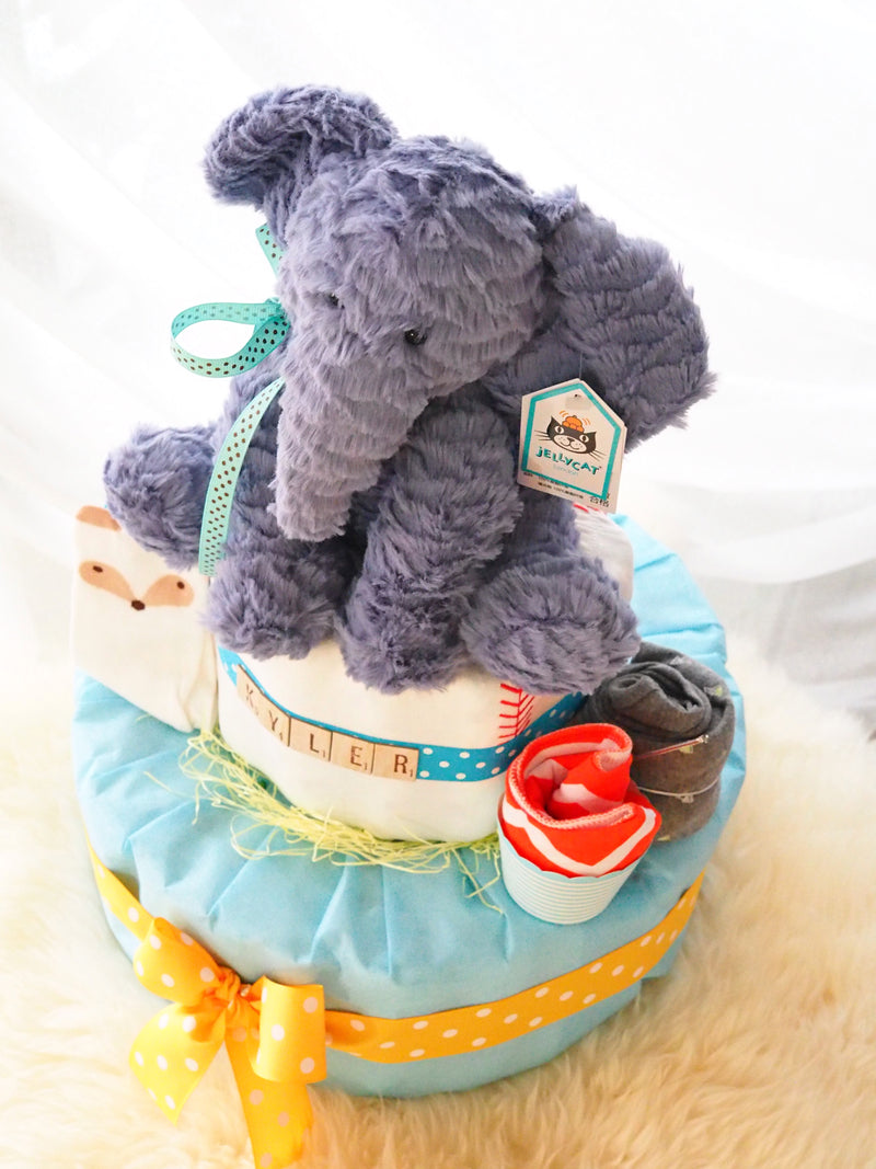 2 Tier Diaper Cake Boy - Fuddlewuddle Elephant