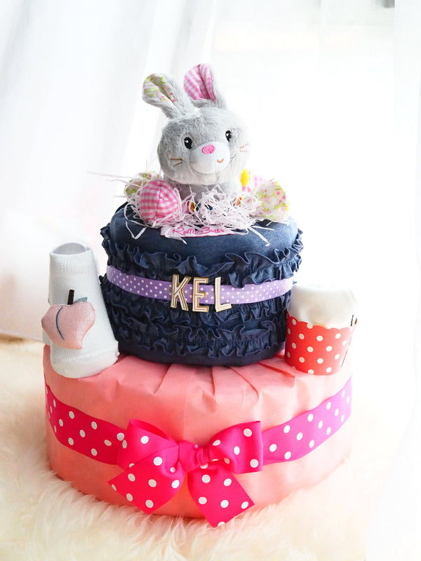 2 Tier Diaper Cake Girl- Cotton Shelly Bunny