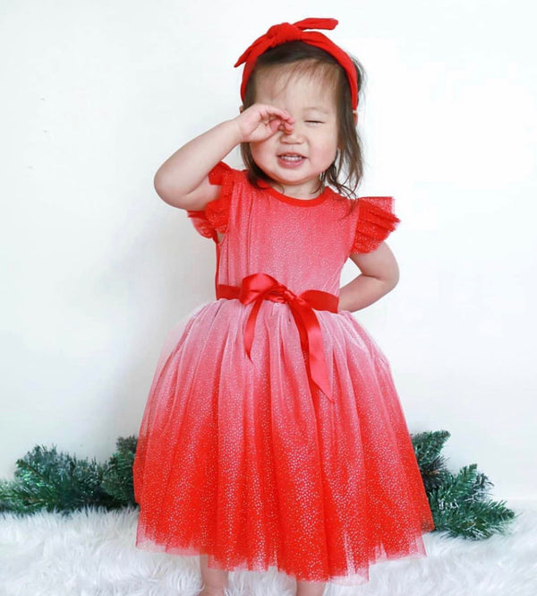 ANGEL SPARKLE S/S TUTU DRESS - RED