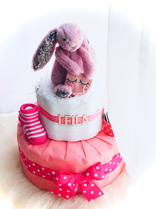 3 Tier Diaper Cake Girl - Pink Bunny