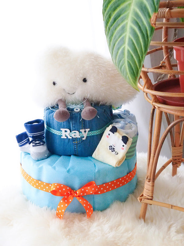2 Tier Diaper Cake Boy - Amusable Denim Cloud