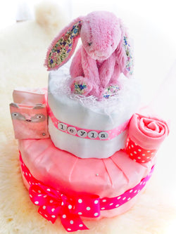 2 Tier Diaper Cake Girl - JellyBunny