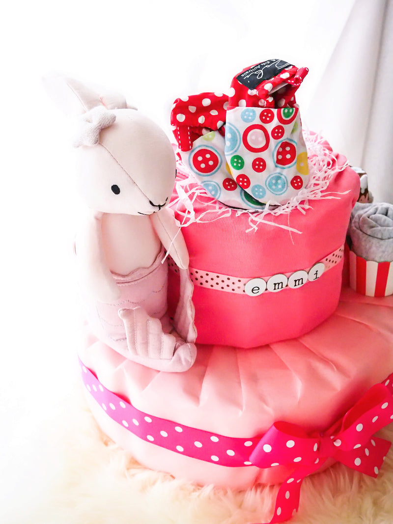 2 Tier Diaper Cake Girl - Pink Mermaid Bunny
