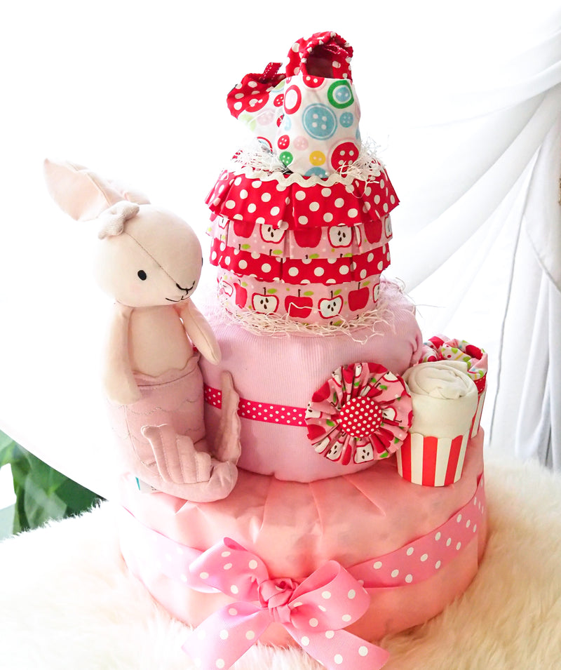 3 Tier Diaper Cake Girl - Pink Mermaid Bunny