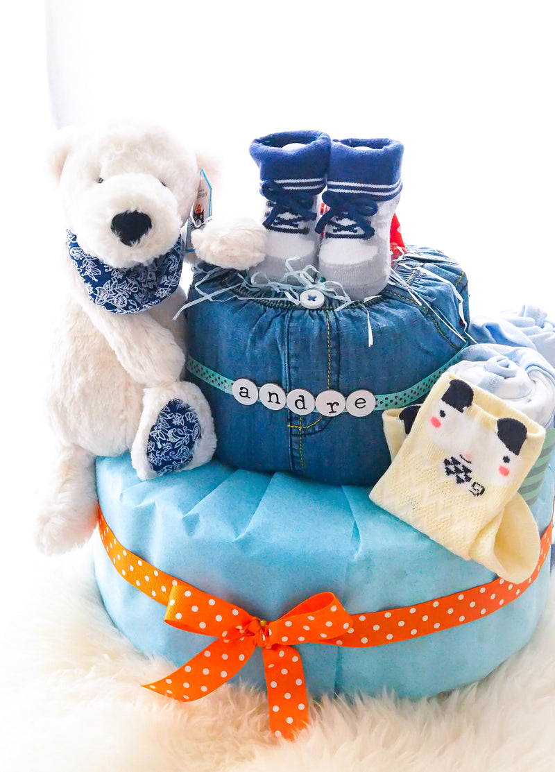 2 Tier Diaper Cake Boy - Kris Junior Polar Bear