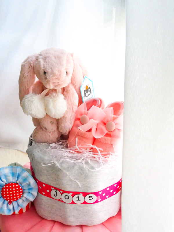 2 Tier Diaper Cake Girl - Winter Bunny with Shoobie