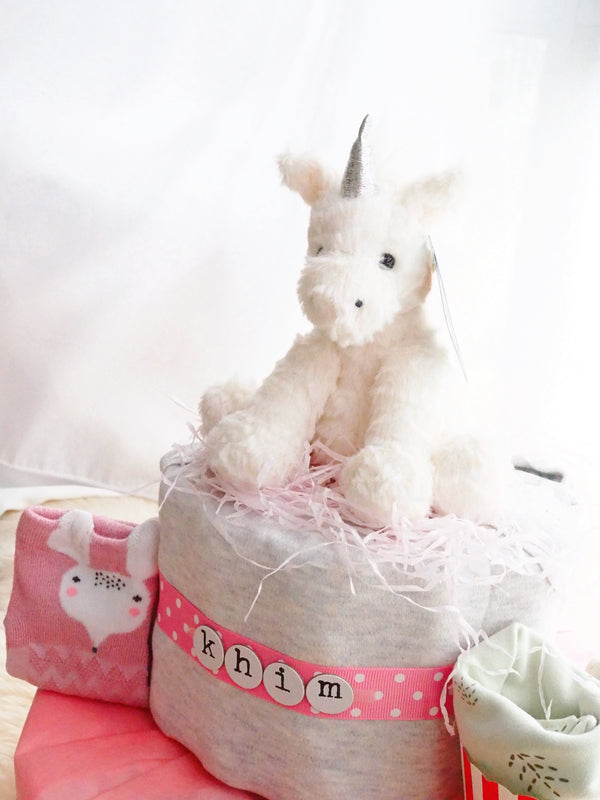 2 Tier Diaper Cake Girl - Unicorn