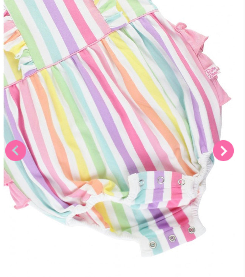 Rainbow Stripe Waterfall Bubble Romper