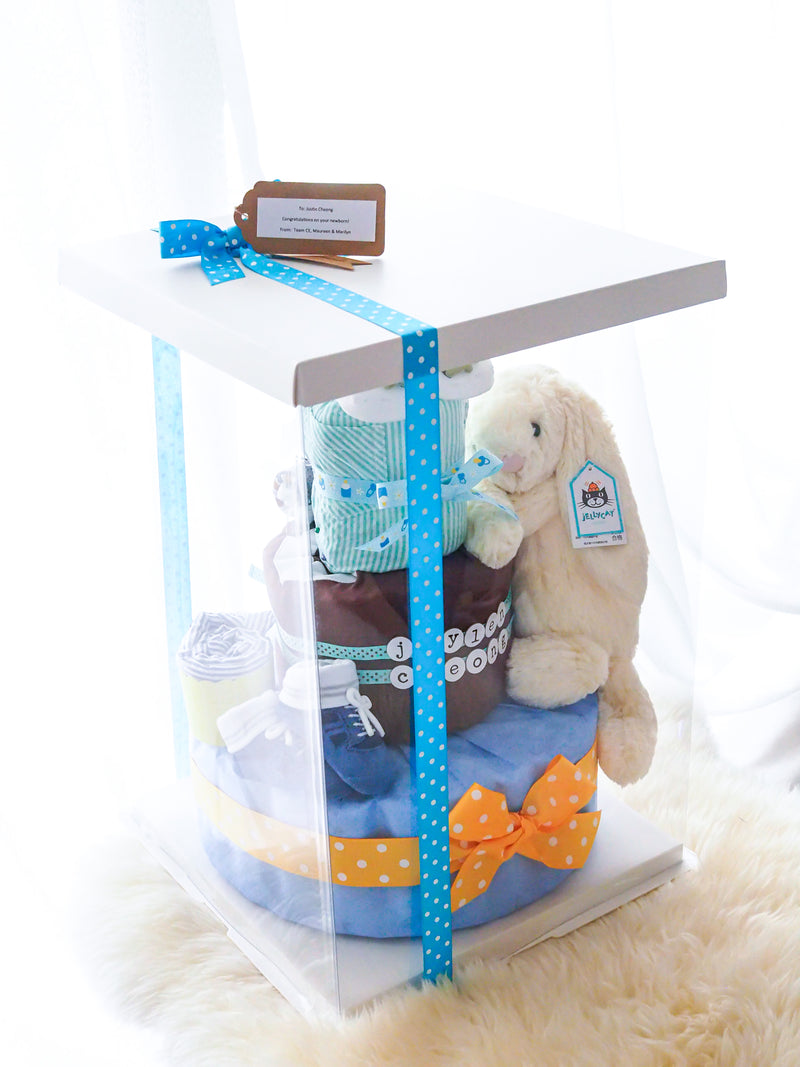 3 Tier Essence of Love Bunny Diaper Cake Boy