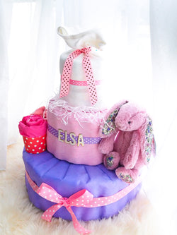 3 Tier Diaper Cake Girl - Purplelicious Bunny