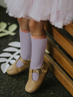 KNEE HIGH LILAC RIB KNIT SOCKS