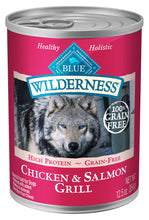 Load image into Gallery viewer, Blue Buffalo Wilderness Grain Free Salmon & Chicken Grill Canned Dog Food