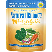Load image into Gallery viewer, Natural Balance Platefulls Regular Grain Free Turkey Chicken and Duck in Gravy Pouch Wet Cat Food