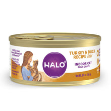 Load image into Gallery viewer, Halo Grain Free Indoor Cat Turkey & Duck Pate Canned Cat Food