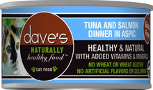 Load image into Gallery viewer, Dave's Naturally Healthy Tuna and Salmon Dinner in Aspic Canned Cat Food