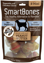 Load image into Gallery viewer, SmartBones Mini Peanut Butter Chew Bones Dog Treats