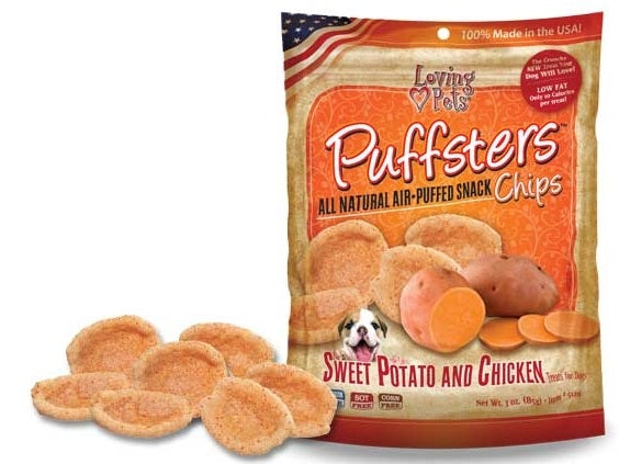 Loving Pets Puffsters Chips Sweet Potato and Chicken Air Puffed Dog Treats