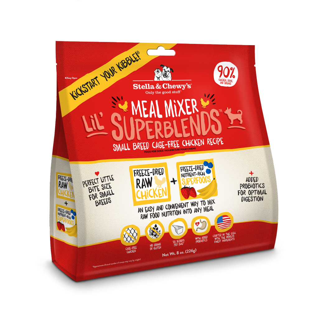 Stella & Chewy's Meal Mixer Lil' SuperBlends Small Breed Grain Free Chicken Recipe Freeze Dried Raw Dog Food Topper
