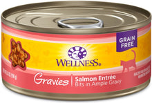 Load image into Gallery viewer, Wellness Natural Grain Free Gravies Salmon Dinner Canned Cat Food