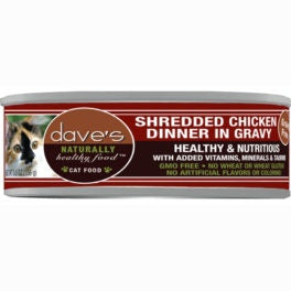 Dave's Pet Food Grain Free Shredded Chicken Dinner in Gravy Canned Cat Food