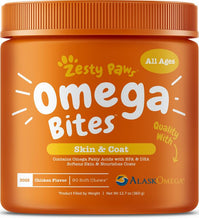 Load image into Gallery viewer, Zesty Paws Omega Bites For Skin & Coat Support Chicken Flavor with Alaskan Fish Oil Soft Chews for Dogs