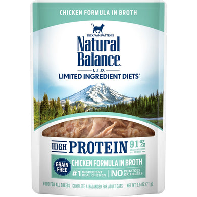Natural Balance L.I.D. Limited Ingredient Diets High Protein Chicken in Broth Pouch Wet Cat Food