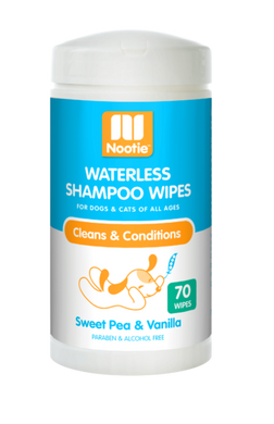 Nootie Sweet Pea & Vanilla Waterless Shampoo Wipes For Dogs & Cats
