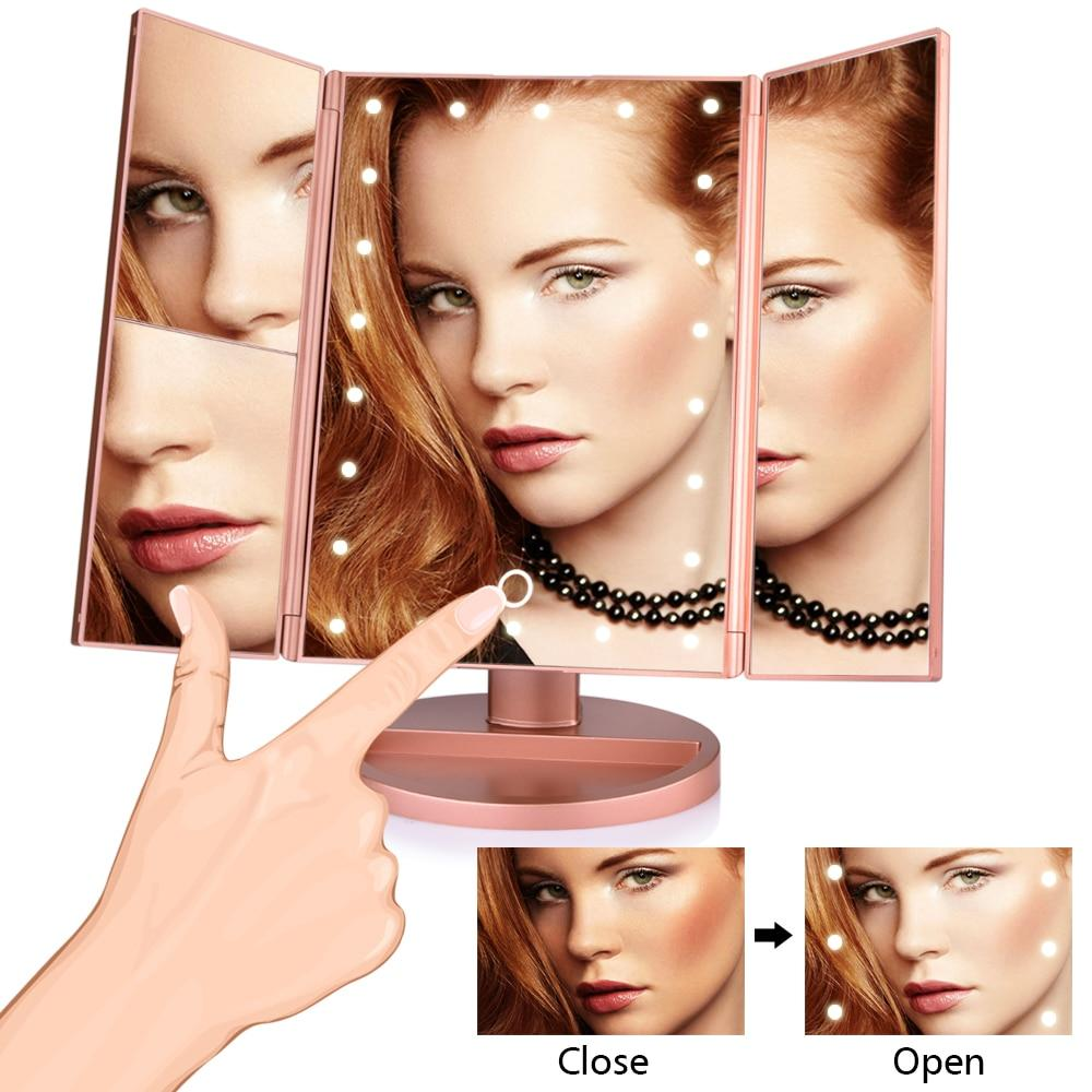 In Style Pieces™ | 22 LED Light Trifold Mirror. Magnify 1X/2X/3X/10X. USB Or Battery.
