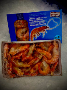 Frozen cooked crevettes (per box)  (net weight 900g)