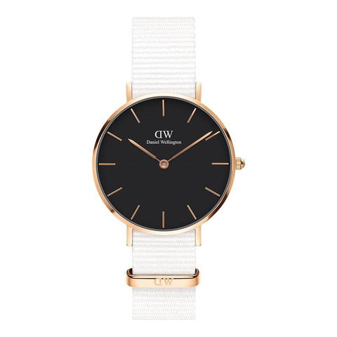 DANIEL WELLINGTON: Petite Dover DW00100312 in white/black/rose gold - www.choubrand.com
