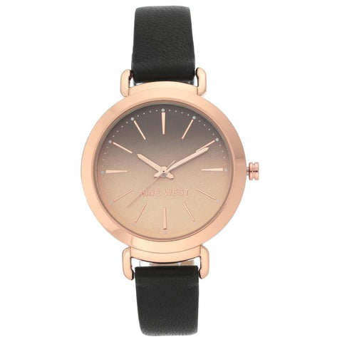 NINE WEST: NW/2288RGBK women's watch in rose gold and black