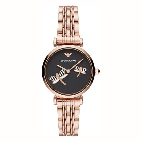 ARMANI: Women's watch AR11206 in rose gold and black - www.choubrand.com
