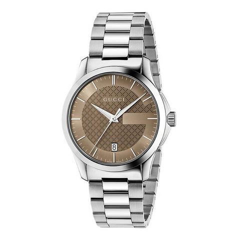 GUCCI: G-Timeless YA126445 men's watch in silver/brown - www.choubrand.com