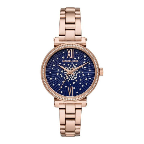 MICHAEL KORS: Women's watch Sofie MK3971 in rose gold/navy blue - www.choubrand.com