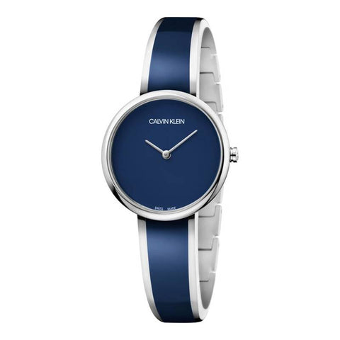 CALVIN KLEIN: Women's watch K4E2N11N in navy blue and silver - www.choubrand.com