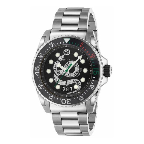 GUCCI: Men's watch Dive YA136218 in silver and black - www.choubrand.com
