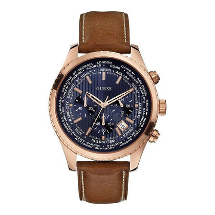 GUESS: Men's watch Pursuit W0500G1 in brown/blue/rose gold - www.choubrand.com