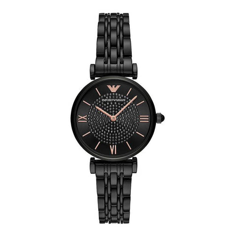 The women's watch AR11245 Gianni T-Bar by Emporio Armani is a sleek all black watch that will go perfectly with any style.