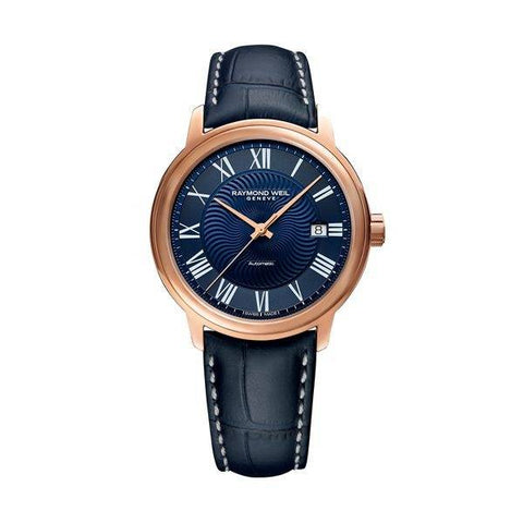 This navy blue with a rose gold case men's watch by the luxury brand Raymond Weil is a must have in your collection.