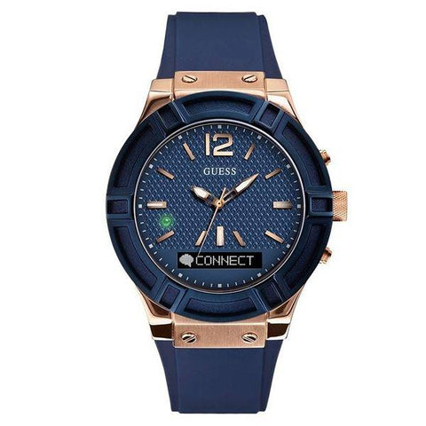 GUESS: Connect C0001G1 Unisex Smartwatch in blue and gold - www.choubrand.com