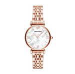The Gianni T-Bar AR11110 women's watch by Emporio Armani with its unique dial design combined with a lacquered rose gold case and strap makes this watch a timeless and extremely classy accessory to bring that extra wow effect to your outfits. - ChouBrand