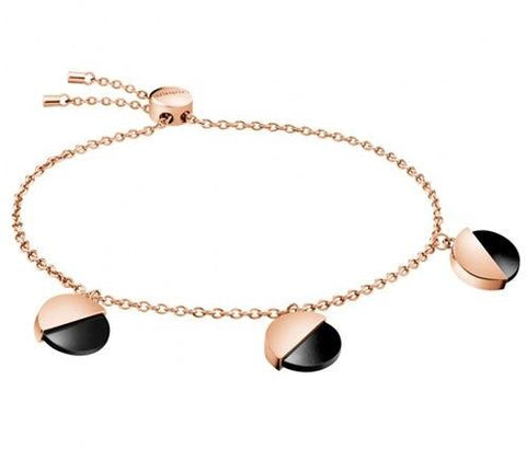 CALVIN KLEIN: KJ8RBB140100 bracelet in rose gold and onix gem - www.choubrand.com
