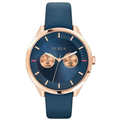 FURLA: Women's watch R4251102549 in blue and rose gold - www.choubrand.com