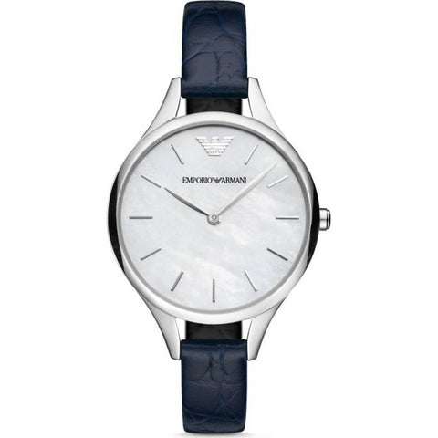 The Dress AR11090 women's watch by Emporio Armani is a very elegant and uniquely stylish watch that will captivate you from the very beginning. Its combination of stainless steel with a thin navy blue leather strap and the mother-of-pearl dial make this piece an essential in your collection. - www.choubrand.com