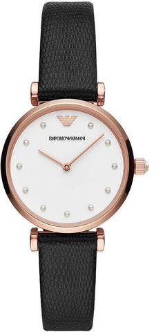 The beautiful design of the AR11270 women's watch by Emporio Armani is the perfect choice to give your outfits that modern and classy look. The combination of the black leather strap with the rose gold goes with every style. - www.choubrand.com