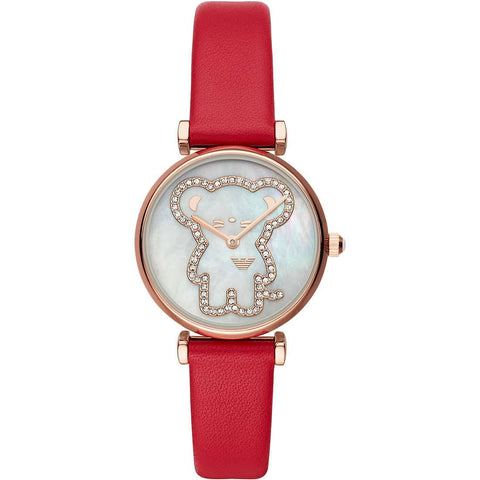 This Gianni AR11281 women's watch by Emporio Armani has a beautiful and original dial with a fun drawing made of small diamonds that is combined with a bright red strap to give that pop of color to your looks. - www.choubrand.com