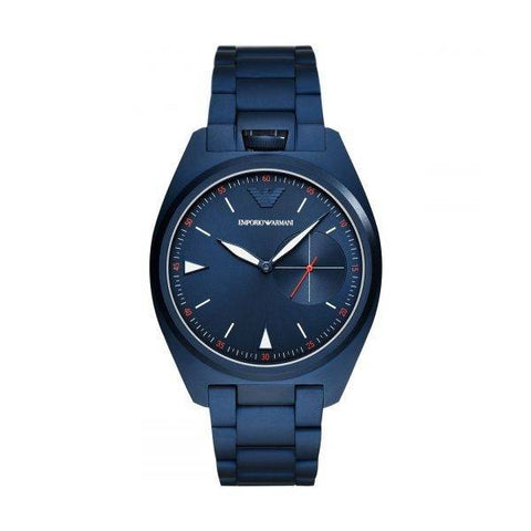 This AR11309 men's watch by Emporio Armani made of stainless steel and lacquered in a beautiful and striking navy blue color will be the perfect choice to add a touch of color to your outfits while wearing the latest trend in watches. | ChouBrand